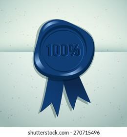 Wax Seal 100% Guarantee : Vector Illustration