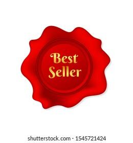 Wax seal Best seller on white background. Vector stock illustration.