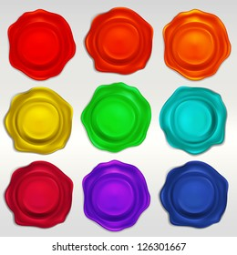 Wax seal emblems or paint splashes set of vector eps10 elements