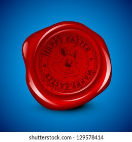 Wax seal for Happy Easter with bunny on blue background.