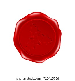 wax seal with imprint of a  holly and  berries,vector new year,   mail,  Christmas