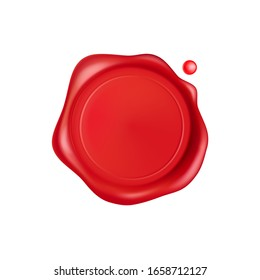 Wax seal. Red stamp wax seal with drops isolated on white background. Realistic guaranteed red stamps. Realistic 3d vector icon