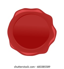 Wax seal red vector isolated on white background.