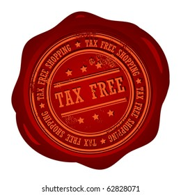 Wax seal with small stars and the word Tax Free, vector illustration
