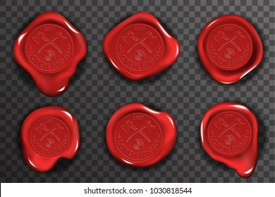 Wax seal stamp red certificate sign transparent background mockup icons set realistic 3d design vector illustration