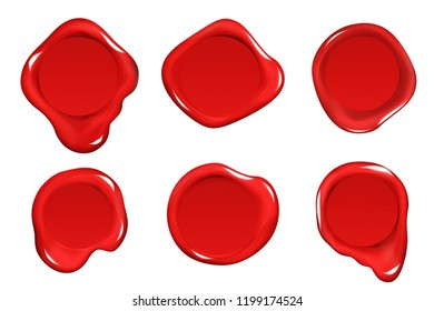 Wax seal stamp red certificate sign isolated on white mockup icons set realistic 3d design vector illustration