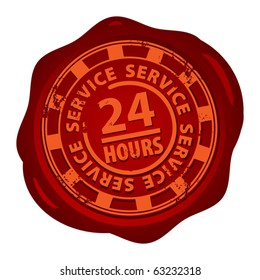 Wax seal with the word 24 hour service inside, vector illustration