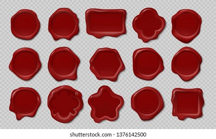 Wax stamp. Old embossed envelope label, heart triangle round royal medieval mockup cartoon shapes. Vector realistic candle wax seals