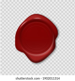 Wax stamp. Retro realistic red seal. 3D round imprint on transparent background. Blank waxy emboss for old-fashioned postal envelopes and guarantee documents. Vector decorative sign with copy space