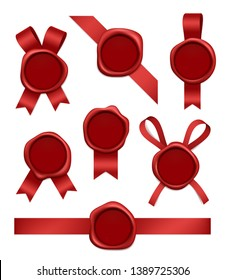 Wax stamp and ribbons. Sealed red rubber postal stamps with tapes vector realistic 3d pictures