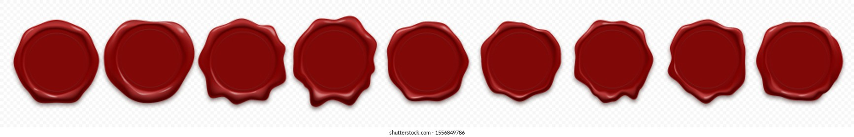 Wax stamp seals, vector 3d realistic icons. Rubber red wax seal stamps templates for quality certificate and premium guarantee product design