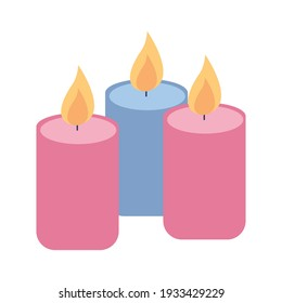 Waxy candles icon. Holiday candles. Vector illustration on a white background.