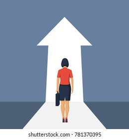 Way forward concept. Businesswoman in suit stands in front of an arrow ahead. Look into future. Business metaphor. Direction to achieve goal. Vector illustration flat design. Isolated on background.