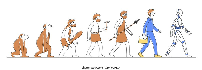 Way from monkey to cyborg or robot flat vector illustration. Humankind progress from caveman as ancestor. Human evolution theory Anthropology, reality and history concept