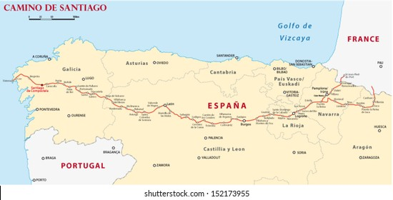 Camino Walk Spain Map.Camino De Santiago Spain Map Stock Illustrations Images Vectors