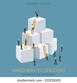 Way to success in business flat 3d web isometric infographic concept vector. Box pyramid with ladders, businesspeople climbing to the top and the winner. Creative people collection.