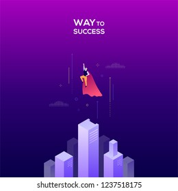 Way to success - modern isometric vector web banner on dark purple background. High quality colorful composition with businessman in superhero cape flying up. Leadership, motivation concept