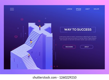Way to success - modern isometric vector website header on purple background with copy space for text. Web banner with business people climbing up staircase with labyrinth, standing on crossroads