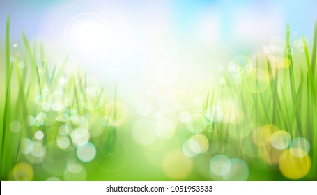 The way through the field. Abstract nature background. Vector illustration.