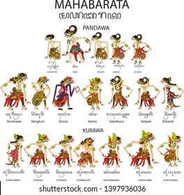 Wayang Baratayuda Set of Mahabharata, Pandawa ans Korawa, yudistira, bima arjuna nakula sadewa Duryudana , Dursasana, Dorna, Sangkuni, Character, Indonesian Traditional Shadow Puppet