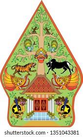 gunungan images stock photos vectors shutterstock https www shutterstock com image vector wayang gunungan character indonesian traditional shadow 1351043381