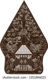 Wayang Gunungan Dark Brown, Indonesian Traditional Shadow Puppet - Vector Illustration