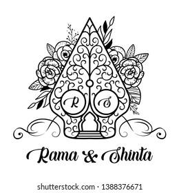 Wayang Gunungan or Tree of Life with Rama Shinta Wedding Decorative Vector Illustration