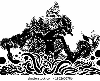 wayang sketch in black on a white background