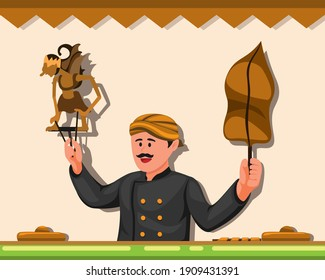 Wayang is traditional leather puppet show from Javanese indonesia concept in cartoon illustration vector