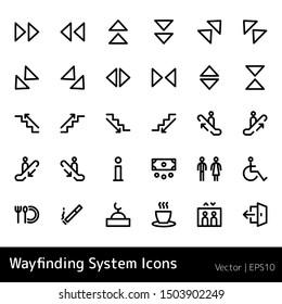 Wayfinding icon set. Stairs signage.