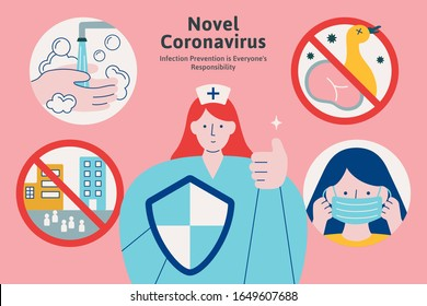 Ways to avoid infection including wash hands, no raw food, wear a face mask and do not go to crowded area during novel pneumonia period, COVID-19 illustration