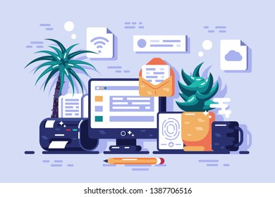 Ways to getting information vector illustration. Receiving online news, update, info about events, activities, company and announcements flat style concept