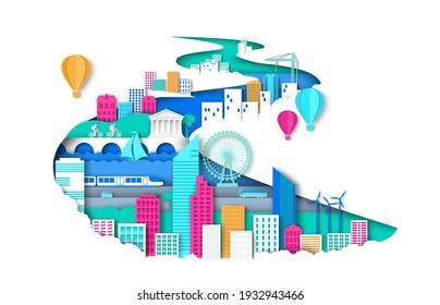 Ways of modern eco friendly city development vector concept illustration in paper art style. Urban landscape, city elements buildings, construction crane, public transport, attractions, windmills.