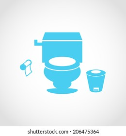 WC bathroom toilet Icon Isolated on White Background