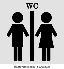 WC. Boy and girl toilet icons, female and male bathroom symbols