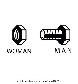 wc icon bolt and nut - toilet sign in pure funny style - toilet door vector symbol