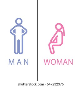 wc icon man and woman - toilet sign in pure funny style - toilet door vector symbol
