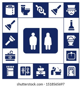 wc icon set. 17 filled wc icons.  Simple modern icons about  - Toilet paper, Plunger, Bathroom, Toilet, Sink, Urine, Wc, Gender, Basin, Gentleman, Public toilet