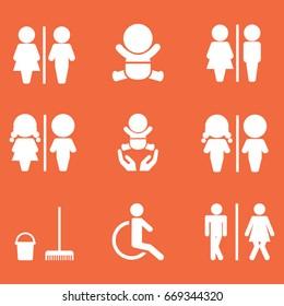 WC icon set . Toilet sign