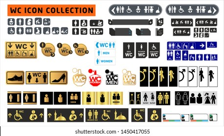 Wc icon. Toilet and restroom icon. Male, female symbol. Bathroom vector. Door and plate symbol. Linear style sign for mobile concept and web design. Wc symbol illustration. Vector.