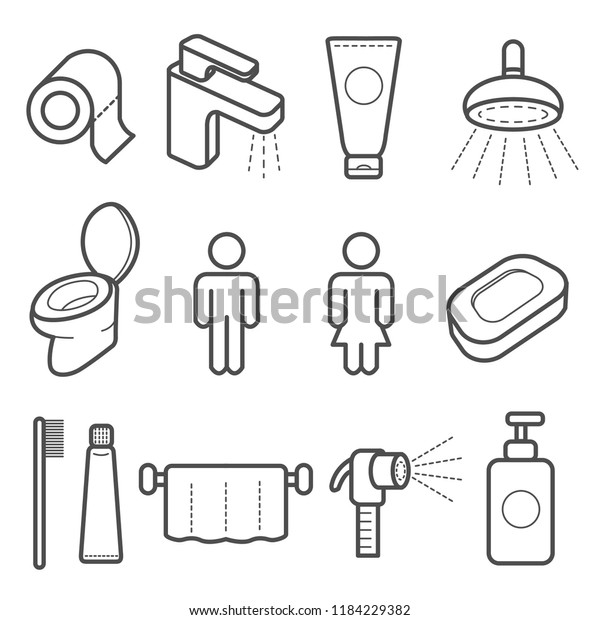 Wc Icons Set Include Bidet Spray Stock Vector Royalty Free 1184229382