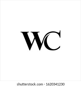 wc letter logo design vector with monogram classic luxury concept