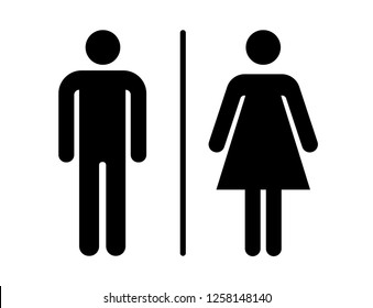 wc man woman icon, basic shape, black and white, geometric silhouette vector