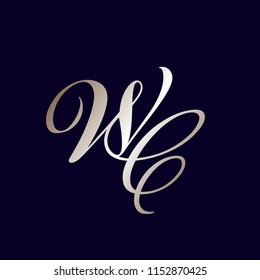 WC monogram logo in calligraphic style.Vector icon with capital letter w and letter c intertwined, in shiny metallic color palette isolated on dark background.