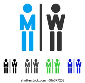 WC Persons flat vector illustration. Colored wc persons gray, black, blue, green pictogram versions. Flat icon style for graphic design.