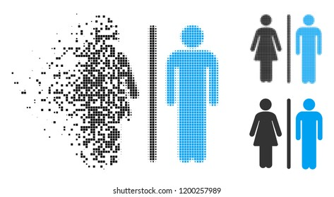 WC persons icon in disappearing, pixelated halftone and undamaged solid variants. Particles are grouped into vector disappearing WC persons icon. Disappearing effect involves square particles.
