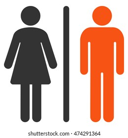 WC Persons icon. Vector style is bicolor flat iconic symbol, orange and gray colors, white background.