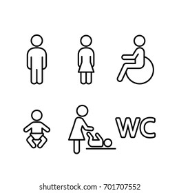wc restroom toilet line black icons set