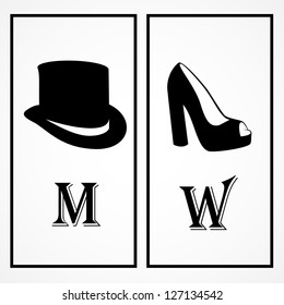 WC Shoes And Hat Black Sign Isolated On White Background - Vector Illustration, Graphic Design Editable For Your Design