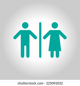 WC sign icon. Toilet symbol. Male and Female toilet. Flat design. Red and white colors.